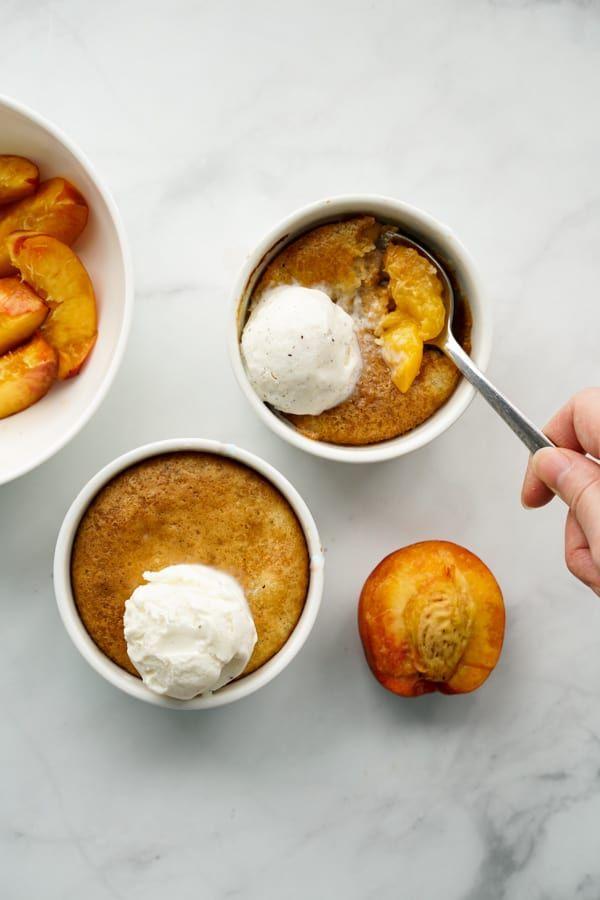 Individual Mini Peach Cobbler - Joyous Apron