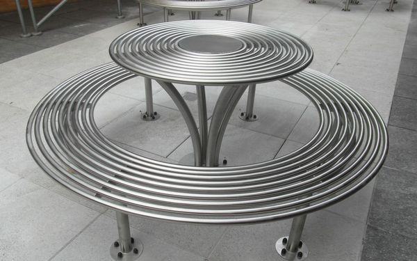 New Baseline picnic set. interesting street furniture. Circular picnic set from benchmark street furniture.