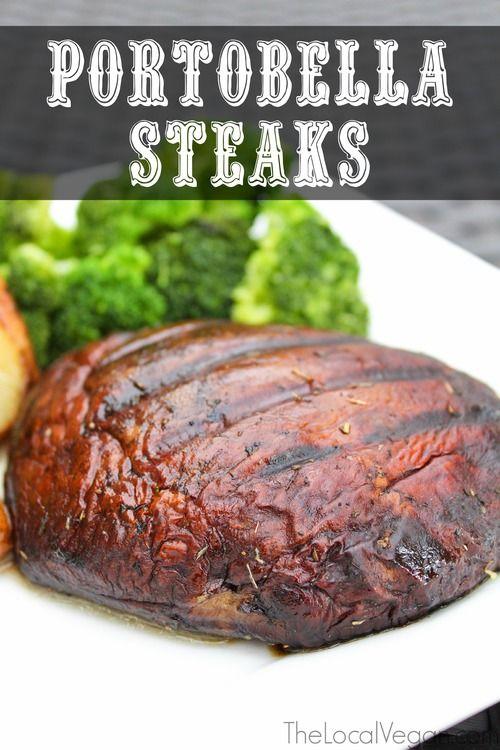 Portobello Steaks - portobello mushroom caps, olive oil, balsamic vinegar, soy sauce, oregano, garlic clove