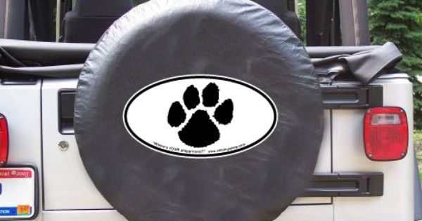 All Things Jeep Spare Tire Cover Dog Paw Print Oval Design