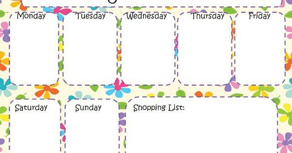 Weekly menu planners, Menu planners and Planners on Pinterest
