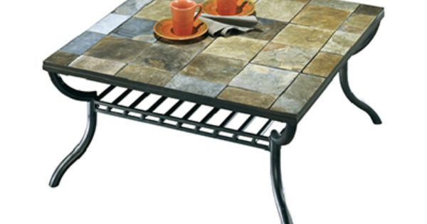 Square Slate Tile Top Coffee Table With Paper Basket Underneath