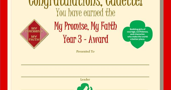 cadette my promise my faith year 3 award certificate cadette girl scouts pinterest. Black Bedroom Furniture Sets. Home Design Ideas