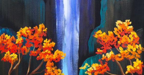 Waterfalls Paintings On Black Canvas Tutorial Autumn