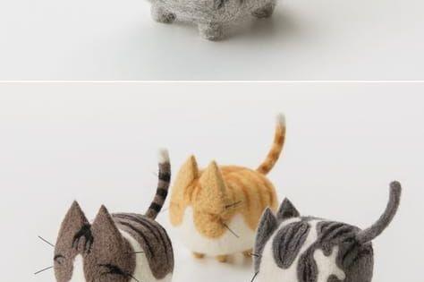 Woonya 猫 Cat 羊毛フェルト Needle Felting Mascot Doll Home Style