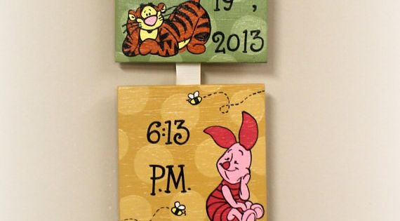 Winnie the Pooh Style Birth Announcement for babys nursery via Etsy Now