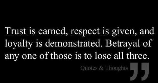 Trust Quotes Betrayal Quotes: Trust Is Earned, Respect Is Given, And Loyalty Is