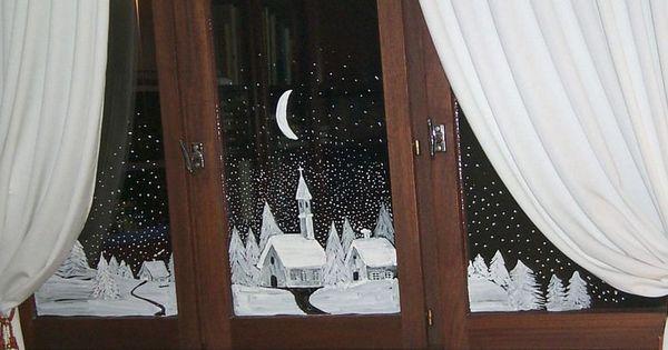 Decor village fenetre copie deco fen tre no l for Decoration fenetre creche