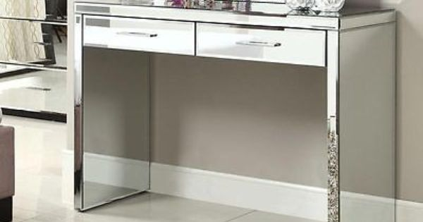 Rio Mirrored Console Hallway Dressing Table 2 Drawer Mirror