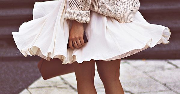 knitted sweater and full skirt