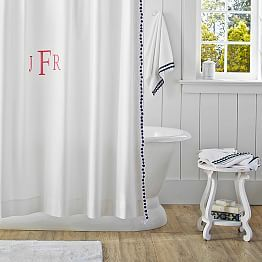 Shower Curtains Fabric Shower Curtains Pbteen Pom Pom Shower