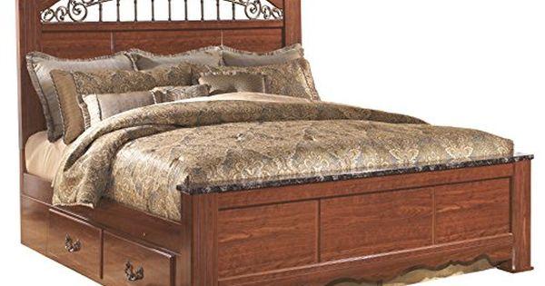 Ashley Furniture Signature Design Fairbrooks Estate Traditional Poster Bedset With Storage King Size Bed Reddish Brown King Size Bed Frame Furniture Bed