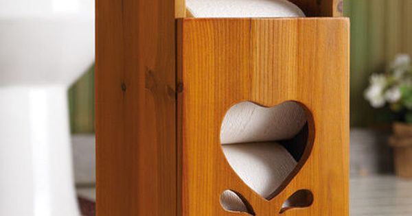 Country Charming Heart Wooden Toilet Paper Roll Holder