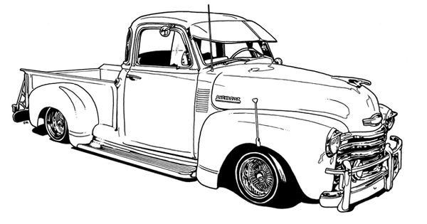vintage truck color book pages | Lowrider Coloring Book by ...