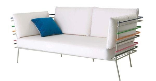 gartenmöbel design weiß leder gepolstert sofa | garden | pinterest, Gartengestaltung