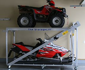 Because of a stupid mistake I made designing the mezzanine in my steel-frame toy shedworkshop storing snowmobiles in summer with the chain hoist has always. The Storage Lift A Vertical Storage Solution Motorcycle Storage Shed Storage Shed Plans Atv Storage