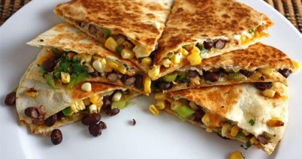 Corn and Black Bean Quesadillas | Recipe | Black Bean Quesadilla ...