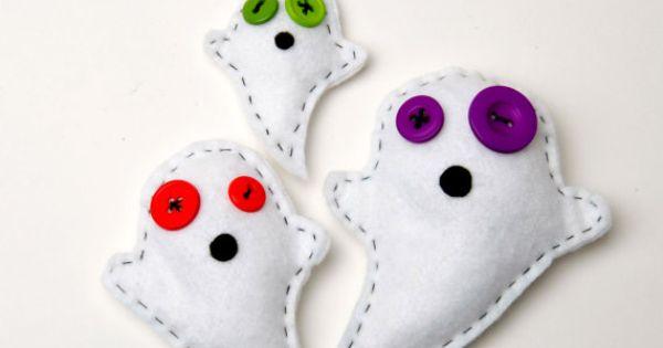 Stuffed felt toy ghosts, Halloween home decor, handmade and sewn Halloween