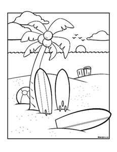 Summer Coloring Pages Surf S Up Day At The Beach Familyfun