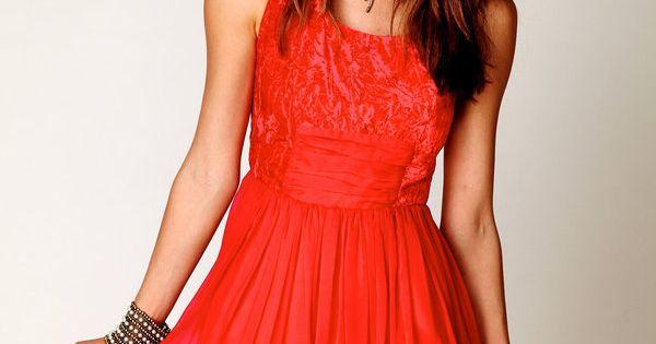 coral chiffon mini dress Extraaaa cutee