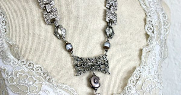 Antique French Sterling Mesh Purse Necklace | See more about Necklaces, Catalog and Heart.