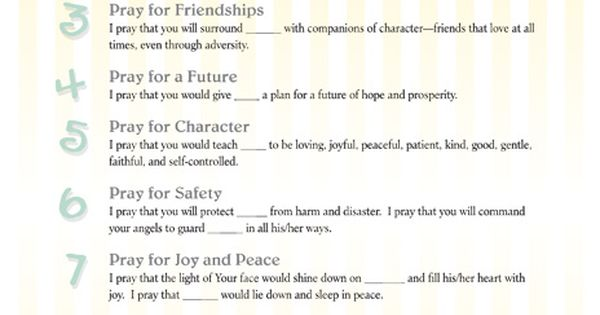Raising Godly Children: Prayer Templates