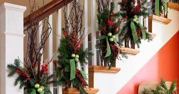 Decoraci n navide a para escaleras abedul escalera y - Decoracion navidena escaleras ...
