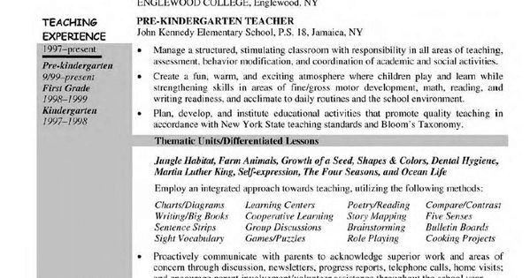 pre kindergarten teacher resume School Days Pinterest