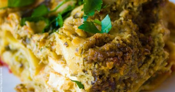 Vegan Spicy Lasagna Verde with Green Basil Pesto -- love this minus