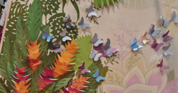 An exquisite tropical garden mural made of paper for Birds of paradise mural