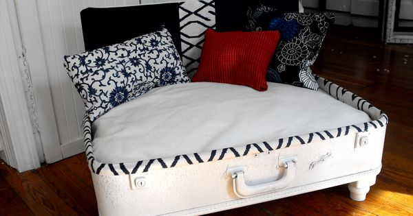 nautical style upcycled dog bed vintage suitcase home. Black Bedroom Furniture Sets. Home Design Ideas