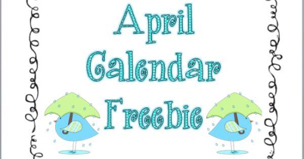 April Calendar Pieces Kindergarten : Calendar numbers free printable april theme preschool
