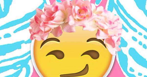 Flower Crown Smirky Emoji Wallpaper Wallpapers