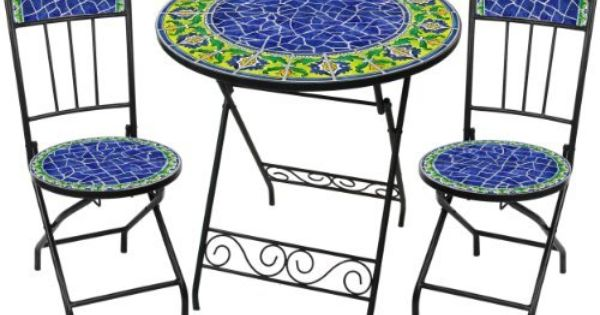 Blue Moorish Ceramic Tile Bistro 3pc Set By Rst Outdoor