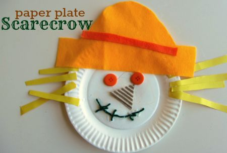 "Paper plate scarecrow craft from ""No Time for Flash Cards"". Scarecrow PreK"