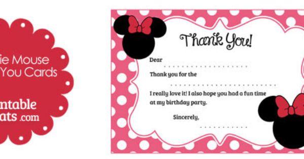 Minnie Mouse Thank You Card Light Pink Chalkboard Minnie Thank You Card Note Minnie Mouse Printable Thank You matches Birthday MMFLP MMPB
