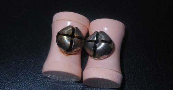 Vintage Pink Baby Shoes Ties Holder Bells Babies
