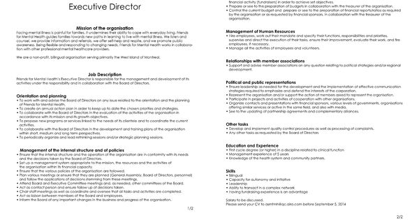 Job Offer Executive Director Friends for Mental Health   Les - executive director job description