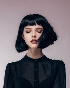 Beautiful And Girl Image Black Bob Hairstyles Hair Styles Blue Hair