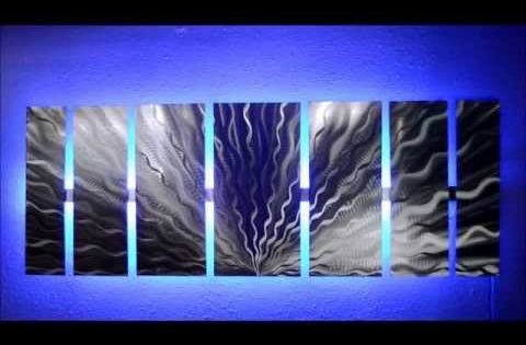 Silver Vibration Metal Amp Led Artwork The Ultimate Wow Factor Ultra Modern Abstract Metal In 2020 Abstract Metal Wall Art Wall Sculpture Art Wall Art Lighting
