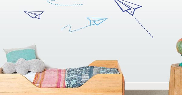 Vinilo infantil aviones de papel decoraci n habitaci n - Papel habitacion infantil ...