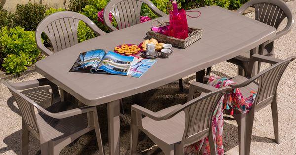 Salon de jardin table ocean 6 fauteuils aruba coloris taupe Table de jardin plastique taupe