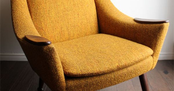 High Back Danish Mid Century Modern Teak Upholstered