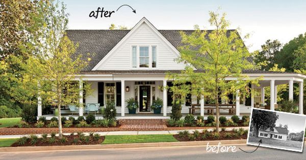 Before After Farmhouse Renovation Porch House Plans Southern Living House Plans House Plans Farmhouse