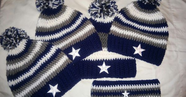 Crochet Dallas Cowboys beanies & ear warmer. Crochet ...