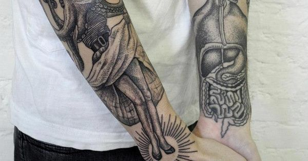 Valentin Hirsch - Dancing squid tattoo sleeve, human anatomy intestines