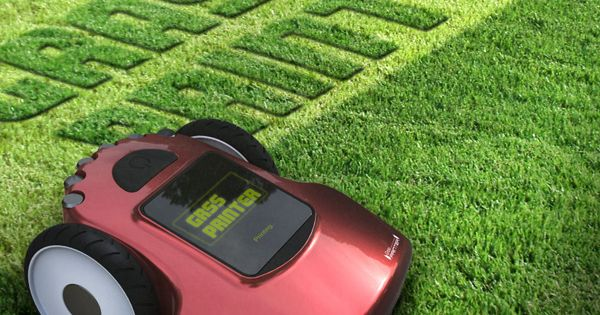 A Lawn Mower Printer That Can Be Programmed To Write Messages On Your Lawn Lawnmower Printer Yankodesign Lawn Mower New Gadgets Cool Stuff