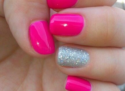 Hot Pink Nails with Silver Glitter Accent Nail.