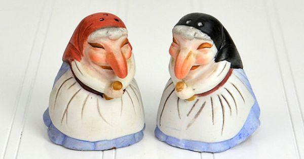 Kitchen Witch Salt Pepper Shakers Bisque Porcelain Kitchen Witch Punch And Judy Salt Pepper Shakers
