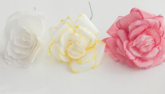 turn coffee filters into pretty rose decor. perfect since I don't really